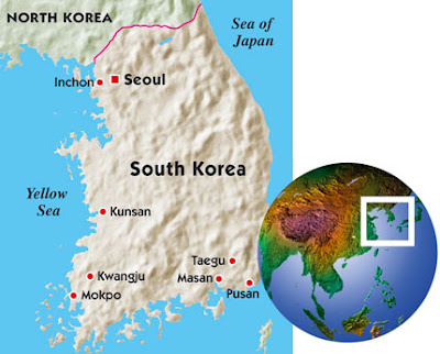 north korea at night compared to south korea. tattoo over North Korea#39;s