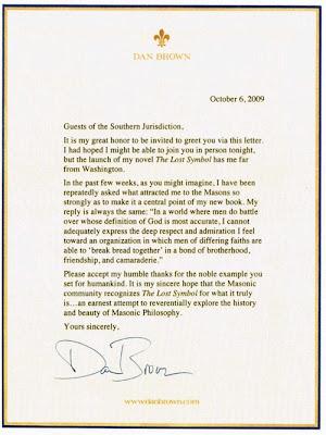 Carta de Dan Brown à Maçonaria Americana