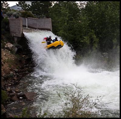 raft flying waterfall colorado CO dam spillway spill way highside, WhereIsBaer.com Chris Baer