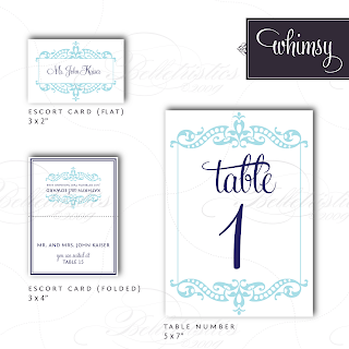 whimsy modern flourish table number escort place card design