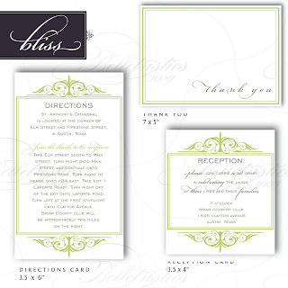 bliss flourish invitation inserts thank you card
