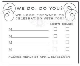 custom wedding invitation rsvp insert