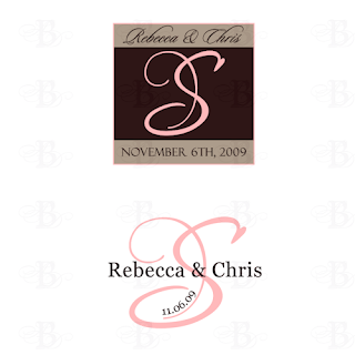 wedding monogram pink brown