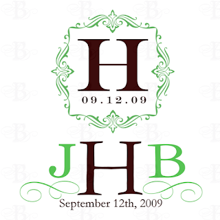 wedding monogram green and brown