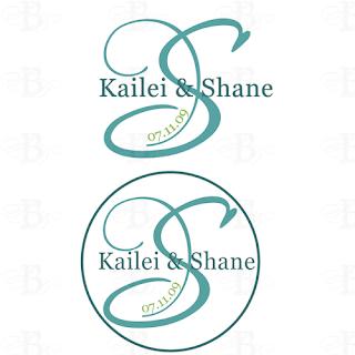 wedding monogram design blue green