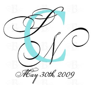 wedding monogram design aqua black