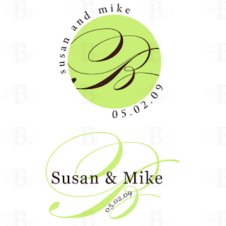 brown granny smith green wedding monogram design