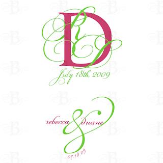 pink lime wedding monogram logo