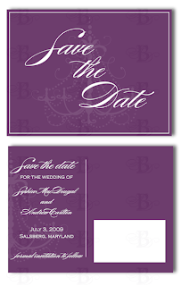 save the date purple chandelier