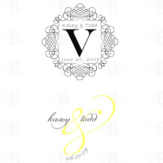 wedding monogram design yellow gray