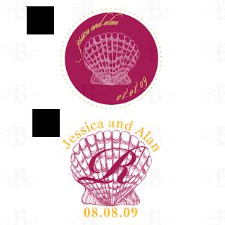 seashell wedding monogram logo design