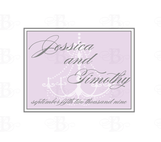 chandelier wedding monogram design lavender gray