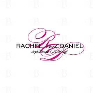 wedding monogram logo design pink black
