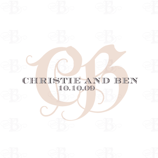 wedding monogram logo design pink brown