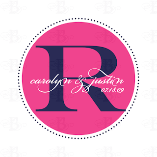 wedding monogram logo design pink navy