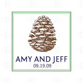 custom pine cone wedding monogram