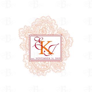 custom paisley wedding monogram design logo