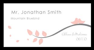 custom love bird branch wedding escort card design