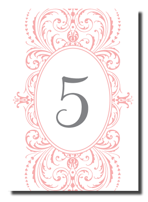 flourish swirl table number card design wedding reception stationery