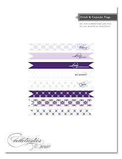 wedding free printable cupcake drink flag flair template diy