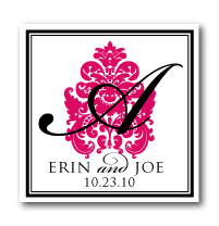 custom damask wedding monogram design