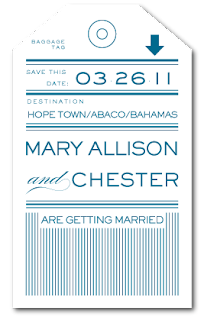custom baggage tag save the date card