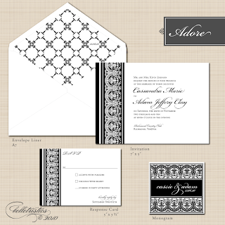 adore damask lace printable DIY wedding invitations