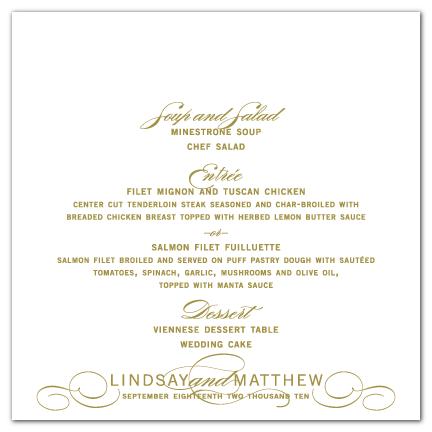 custom flourished elegant wedding menu card