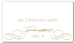 custom flourished elegant wedding escort place card