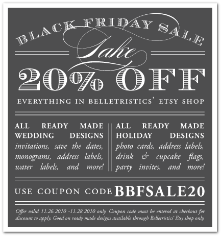 belletristics black friday sale 20% off