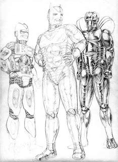 Obsessão por armaduras: esquerda para direita, Turbo, Homem de Plástico e Alma de Aço
