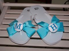 Turquoise and White Flip Flops