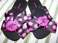 Black and Pink Polka Dot Flip Flops