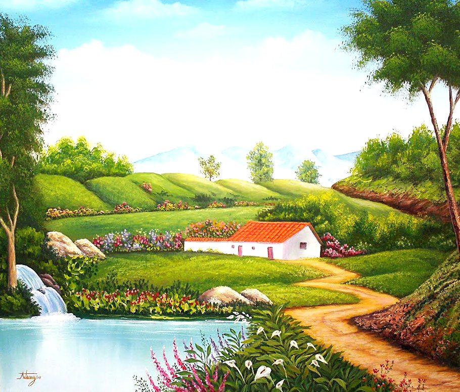 Im genes arte pinturas casa campestre casa de campo leo for Pinturas para casas de campo