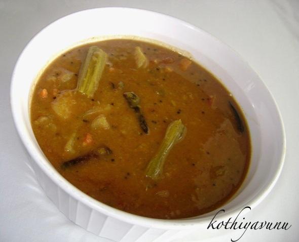 Varutharacha Sambar RecipeSambar with Roasted Coconut and