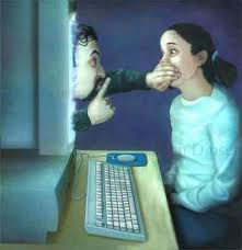 This is a picture of a man covering a girl's mouth next to a computer.