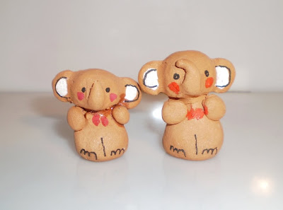 Agyagból kis elefánt pár - Kisebb