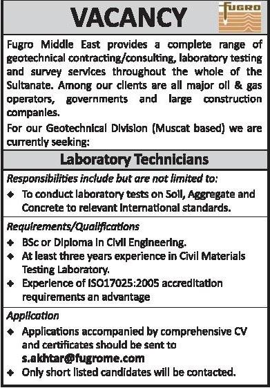 Laboratory Technician, Oman - Jobalert