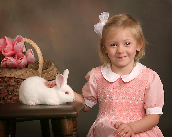 smithfield nc childrens portrait photography with easter bunny