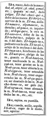 Detalhe (p. 97) da 'Arte y Vocabulario de la Lengua Chiquito', com as entradas para 'mano' e 'espina' (clique para ampliar)