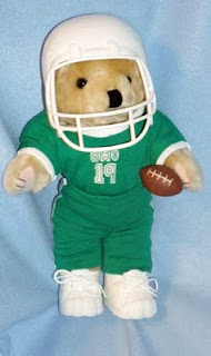 Football Teddy Bear in uniform with football and helmet