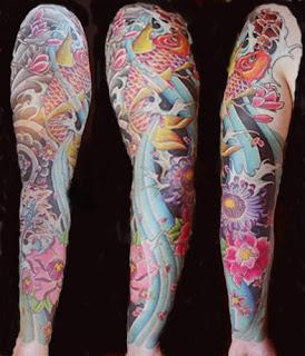 Sleeve tattoo japanese tattoo koi tattoo fish tattoo arm tattoo