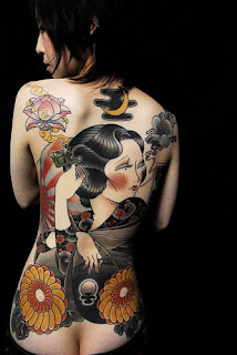 Back Piece Japanese Geisha Tattoos For Girls Picture 3