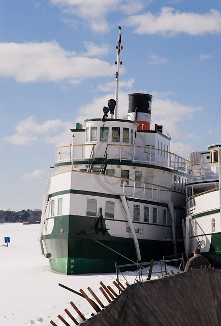 The Wenonah, a tourist ship at Gravenhurst, frozen in for the winter