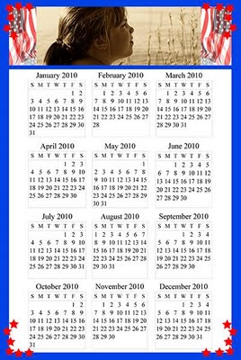 sample 2010 calendar with template showing the American Patriot design set, ©J. Gracey Stinson