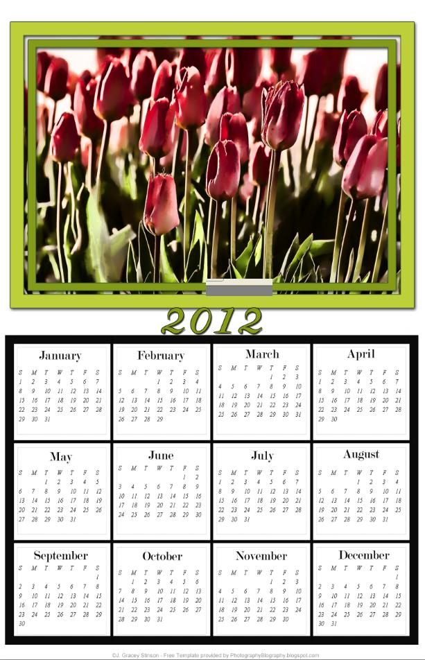 the 2012 yearly calendar intended for the last page of the calendar