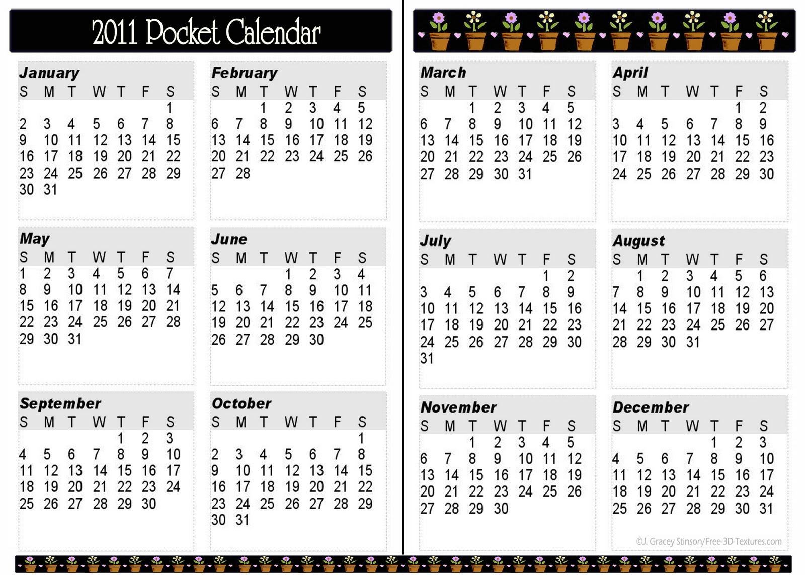 Pocket calendar template 11 pocket calendar templates for Usable calendar template