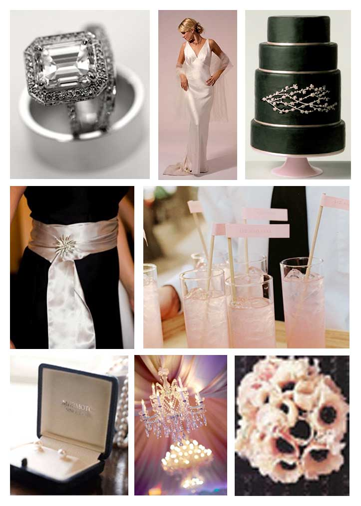 Black Accessories and Flowers Black Pale Pink Black and Pale Pink