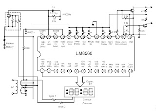 Schematic Diagram Alarm Equipped Digital Clock LM5860 circuit and