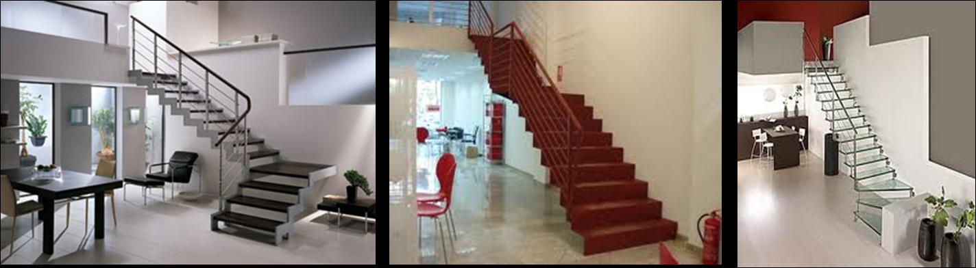 hay escaleras sencillas de un solo tramo con o sin descansillo intermedio y otras formadas por varios tramos rectos cambiando la direccin en
